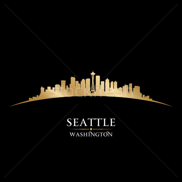 Seattle Washington silhouet zwarte hemel Stockfoto © Yurkaimmortal