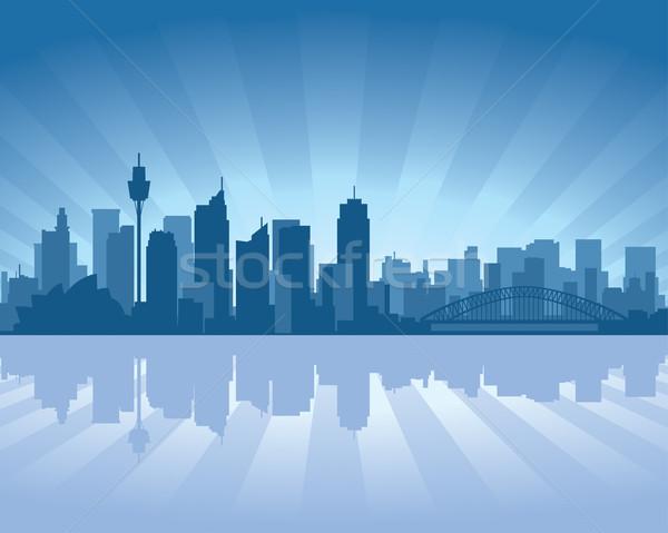 Sydney Australië skyline illustratie reflectie water Stockfoto © Yurkaimmortal