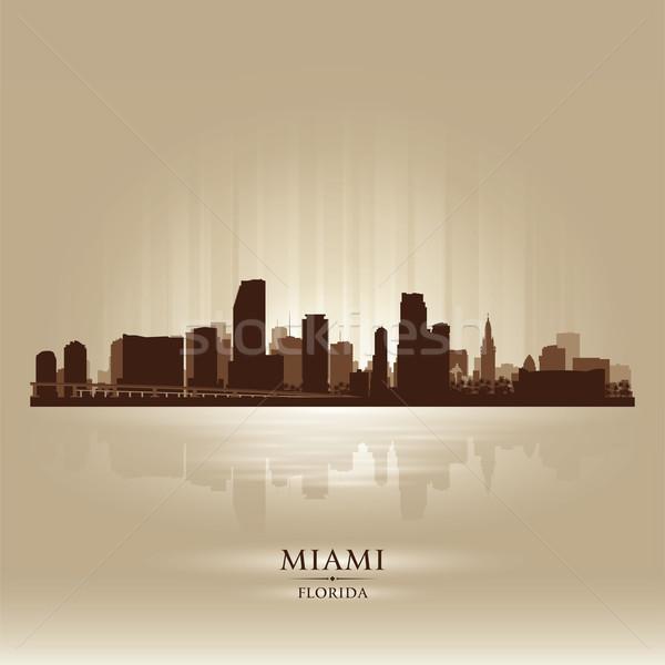 Miami Florida sziluett város sziluett égbolt Stock fotó © Yurkaimmortal