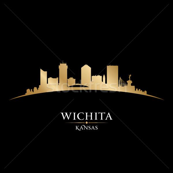 Kansas şehir siluet siyah gökyüzü Stok fotoğraf © Yurkaimmortal