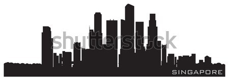 Singapore, Asia skyline. Detailed vector silhouette Stock photo © Yurkaimmortal