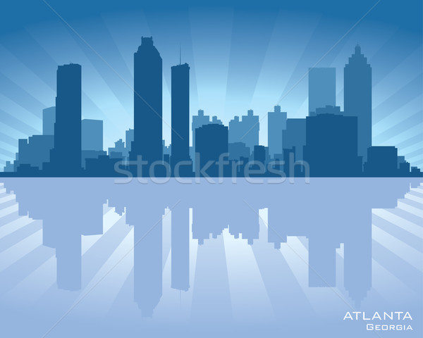 Atlanta Georgië skyline illustratie reflectie water Stockfoto © Yurkaimmortal