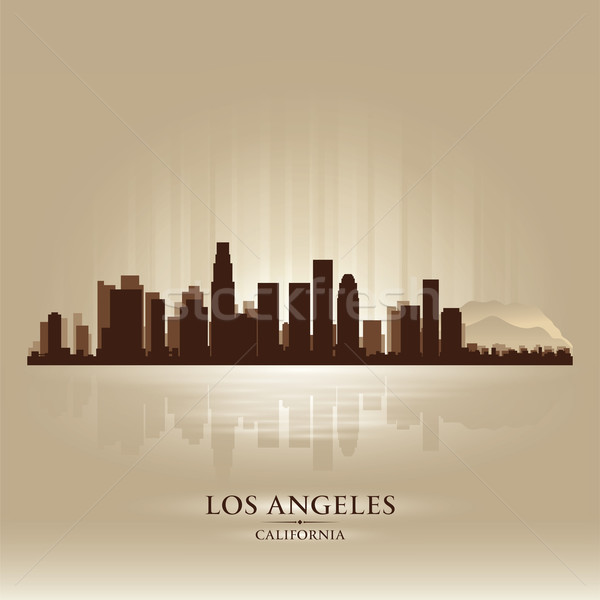 Los Angeles Californië skyline stad silhouet zonsondergang Stockfoto © Yurkaimmortal