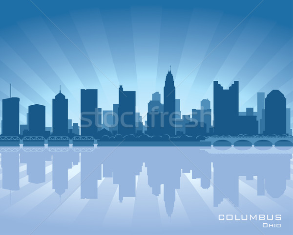 Ohio skyline illustratie reflectie water hemel Stockfoto © Yurkaimmortal