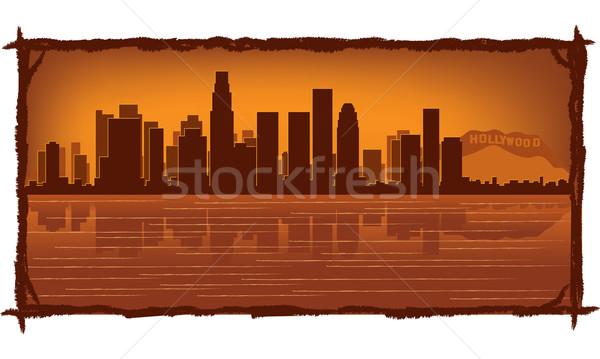 Los Angeles panoramę refleksji wody niebo budynku Zdjęcia stock © Yurkaimmortal