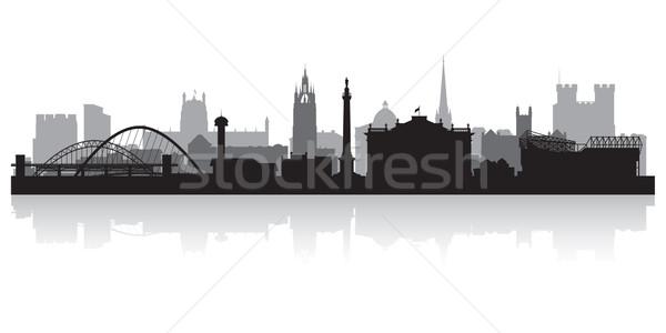 Newcastle városkép sziluett üzlet épület háttér Stock fotó © Yurkaimmortal