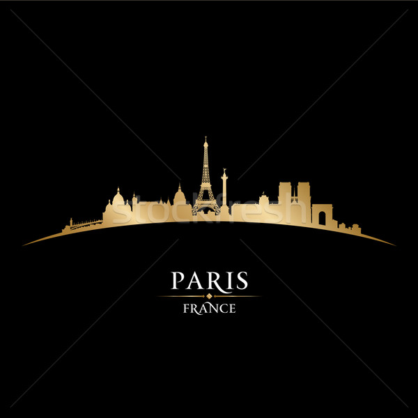 Paris France city skyline silhouette black background  Stock photo © Yurkaimmortal