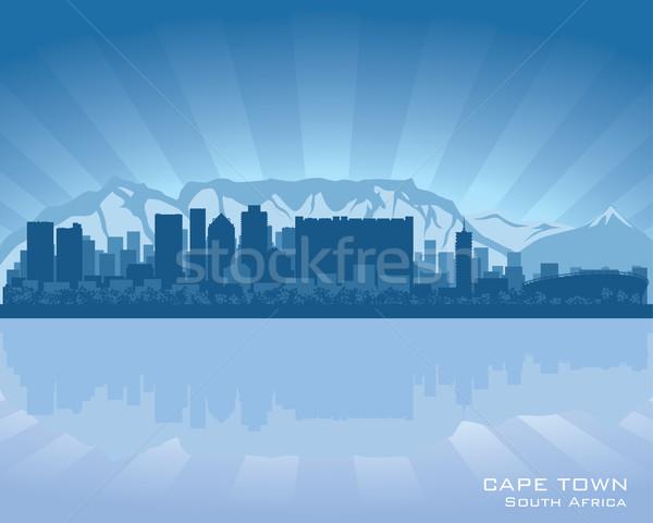 Кейптаун ЮАР Skyline иллюстрация отражение воды Сток-фото © Yurkaimmortal