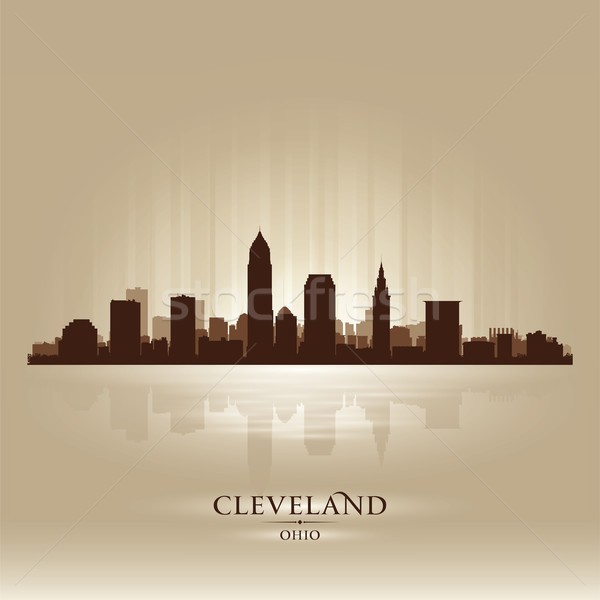 Cleveland Ohio skyline city silhouette Stock photo © Yurkaimmortal