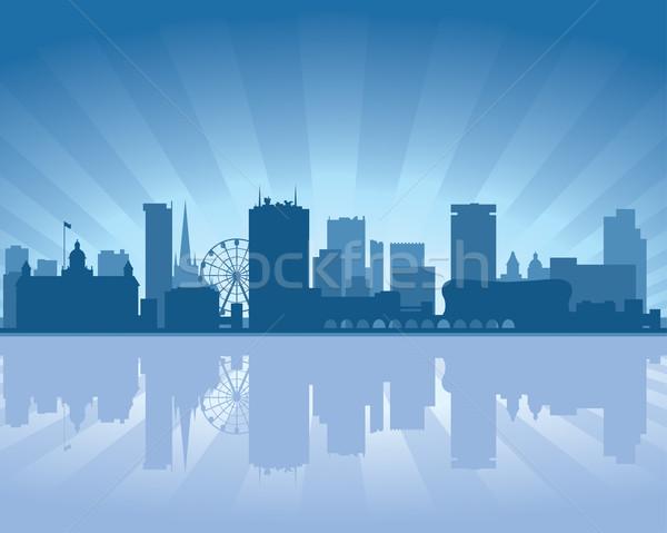 Birmingham Anglia sziluett tükröződés víz égbolt Stock fotó © Yurkaimmortal