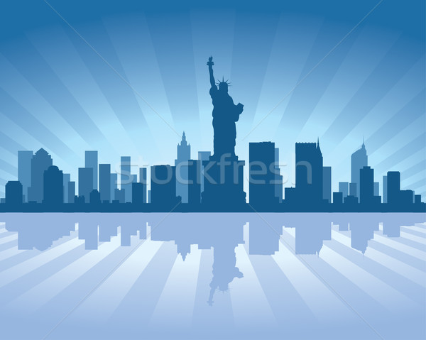 New York skyline reflectie water hemel gebouw Stockfoto © Yurkaimmortal