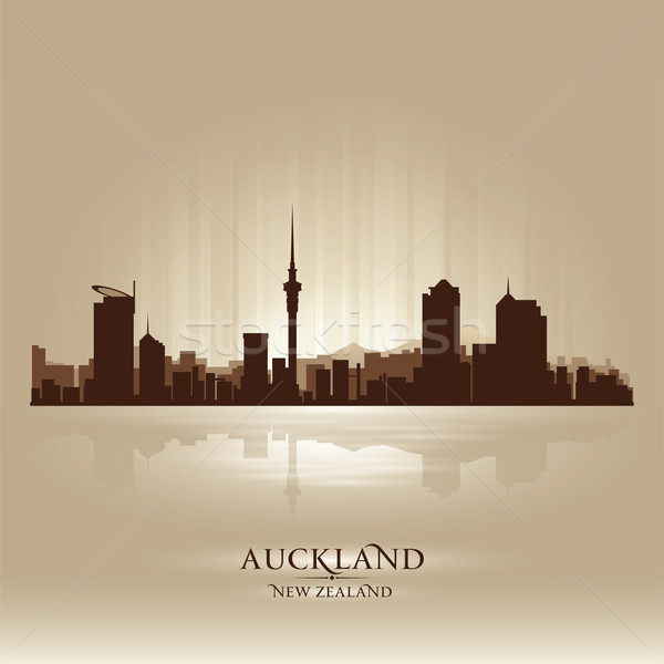 Сток-фото: Новая · Зеландия · Skyline · город · силуэта · небе · закат