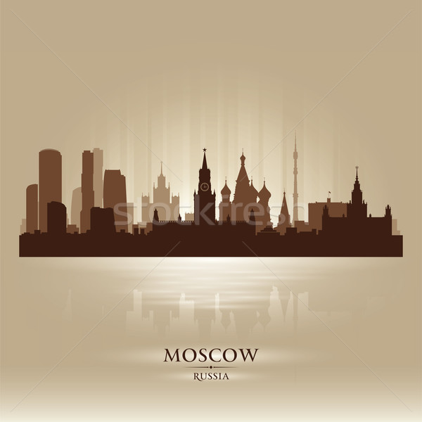 Moscow Russia skyline city silhouette Stock photo © Yurkaimmortal