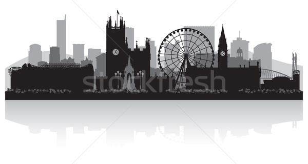 Manchester városkép sziluett üzlet épület háttér Stock fotó © Yurkaimmortal