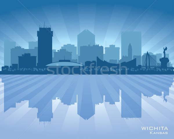 Kansas városkép vektor sziluett illusztráció égbolt Stock fotó © Yurkaimmortal