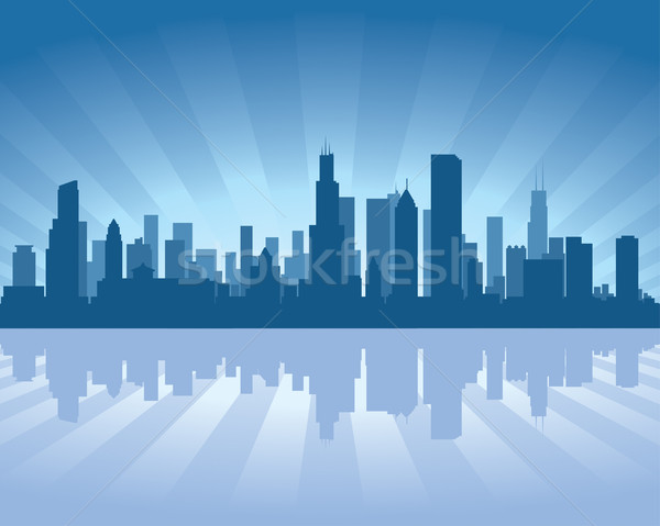 Chicago skyline reflectie water hemel gebouw Stockfoto © Yurkaimmortal