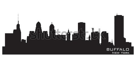 Detroit Michigan skyline gedetailleerd vector silhouet Stockfoto © Yurkaimmortal