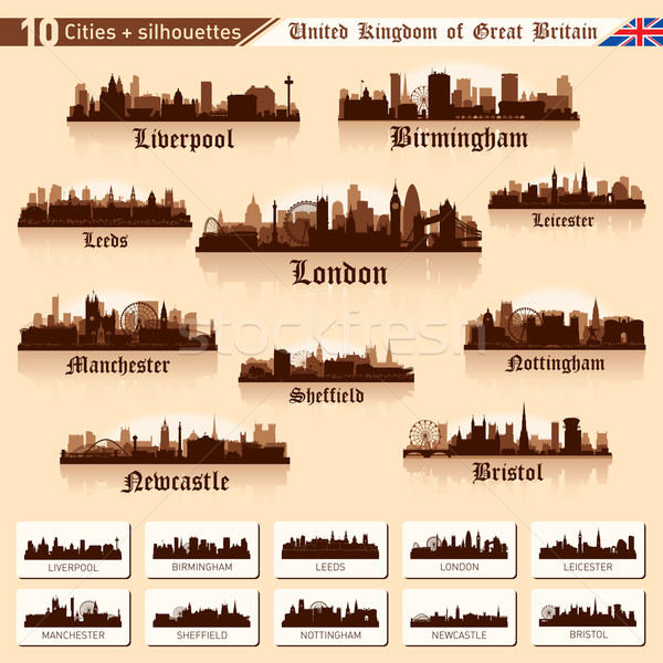City skyline set. 10 cities of Great Britain #1 Stock photo © Yurkaimmortal