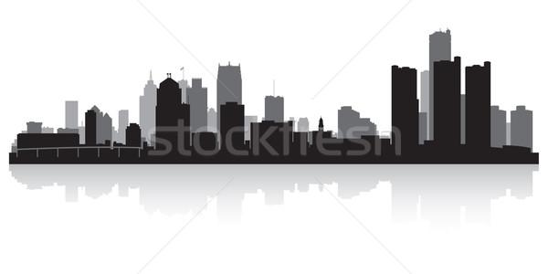 Detroit silhouet USA business gebouw Stockfoto © Yurkaimmortal