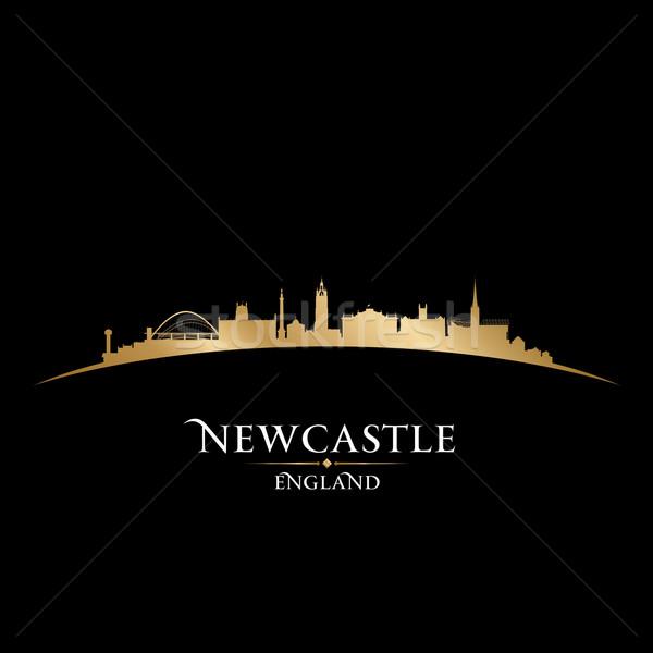Newcastle Anglia városkép sziluett fekete égbolt Stock fotó © Yurkaimmortal