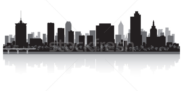 Silueta EUA negocios edificio fondo Foto stock © Yurkaimmortal
