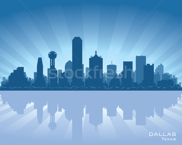 Dallas Texas Skyline illustration réflexion eau Photo stock © Yurkaimmortal