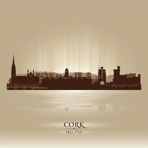 Сток-фото: пробка · Ирландия · Skyline · город · силуэта · небе