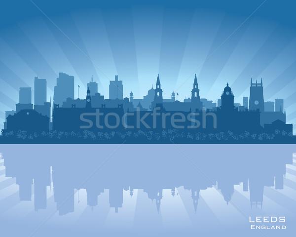 Anglia sziluett tükröződés víz égbolt város Stock fotó © Yurkaimmortal