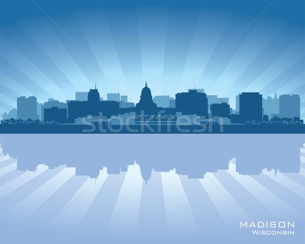 Висконсин Skyline город силуэта небе закат Сток-фото © Yurkaimmortal