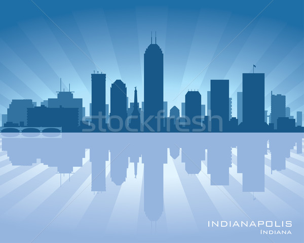 Stockfoto: Indiana · skyline · illustratie · reflectie · water · hemel