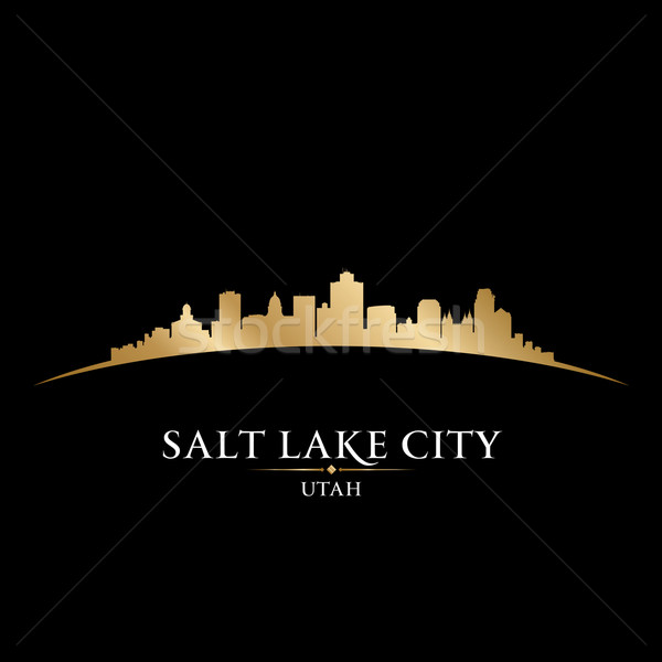 Sel lac ville Utah silhouette noir Photo stock © Yurkaimmortal
