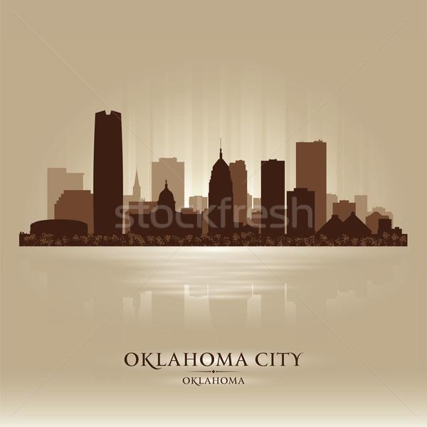 オクラホマ州 シルエット 市 日没 背景 ストックフォト © Yurkaimmortal