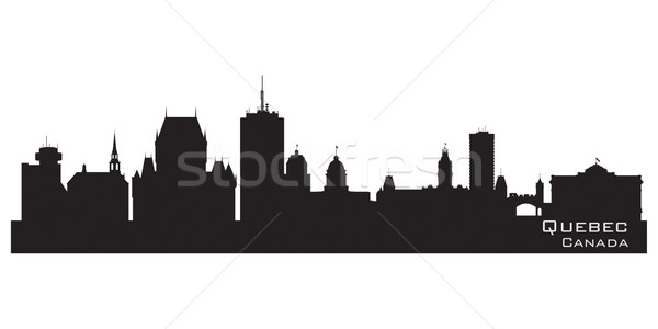 Quebec Canada skyline gedetailleerd silhouet gebouw Stockfoto © Yurkaimmortal