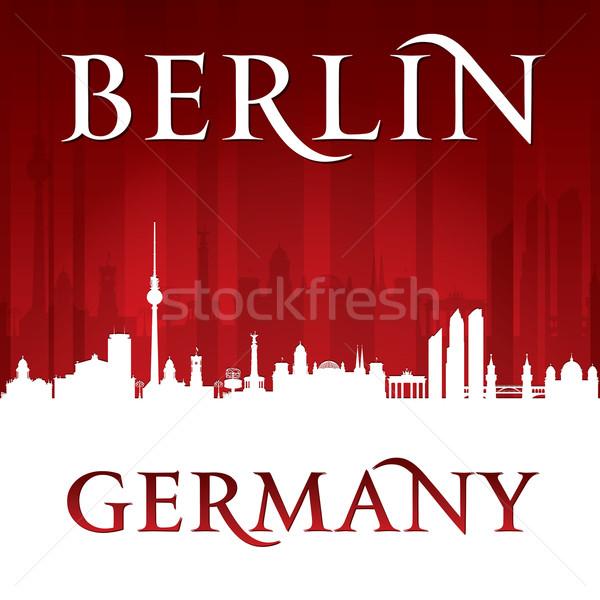 Berlin Németország városkép sziluett piros égbolt Stock fotó © Yurkaimmortal