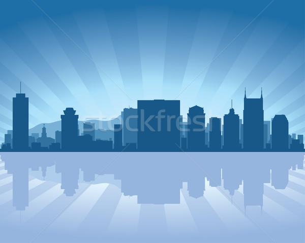 Tennessee sziluett tükröződés víz égbolt épület Stock fotó © Yurkaimmortal