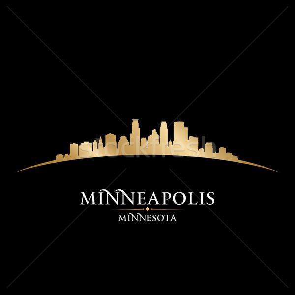 Minnesota városkép sziluett fekete égbolt épület Stock fotó © Yurkaimmortal