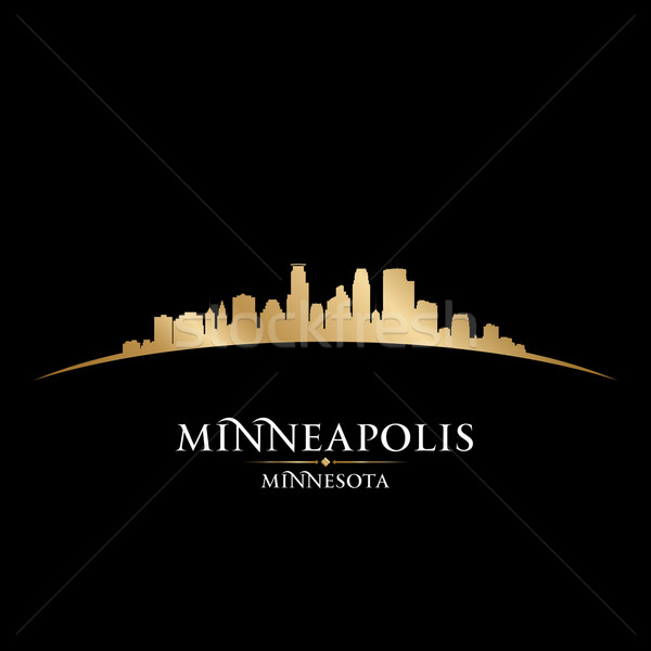 Minnesota silhueta preto céu edifício Foto stock © Yurkaimmortal