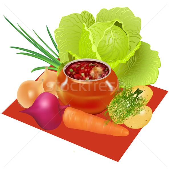 Pot groenten voorbereiding illustratie restaurant groene Stockfoto © yurkina