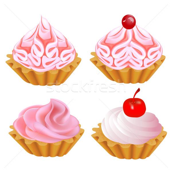 набор розовый торт иллюстрация дизайна шоколадом Сток-фото © yurkina