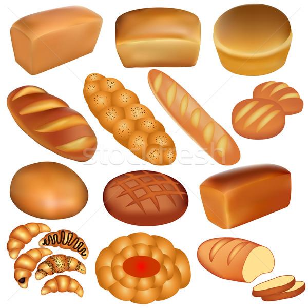 набор хлеб белый иллюстрация завтрак зерна Сток-фото © yurkina