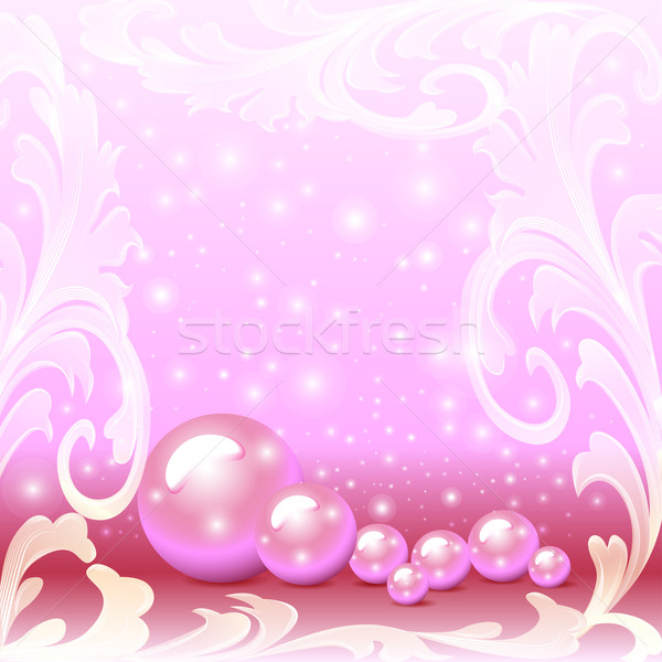 of a pink background with a scattering of pearls and ornaments Stock photo © yurkina