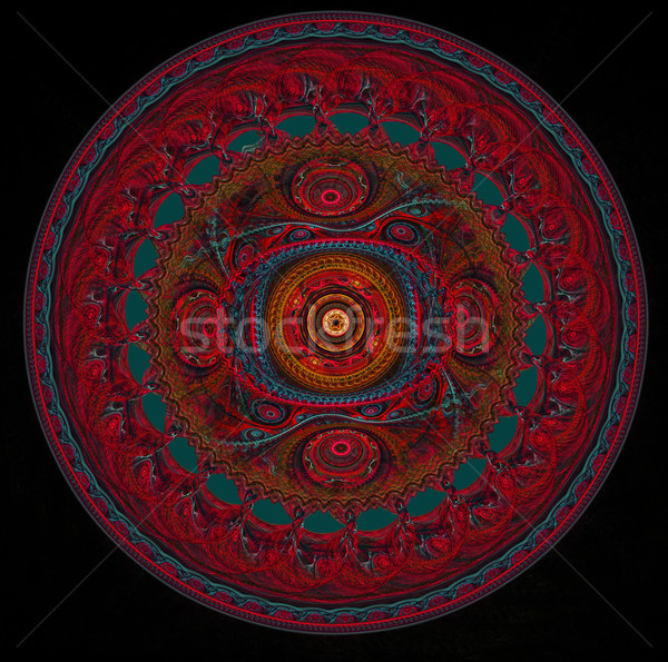 fractal of round in the form of a red lacy napkin on a black bac Stock photo © yurkina