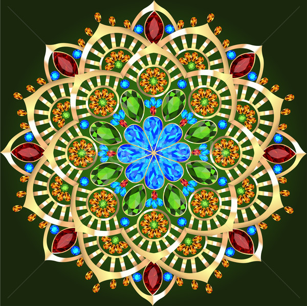 Illustration background circular ornaments of precious stones Stock photo © yurkina