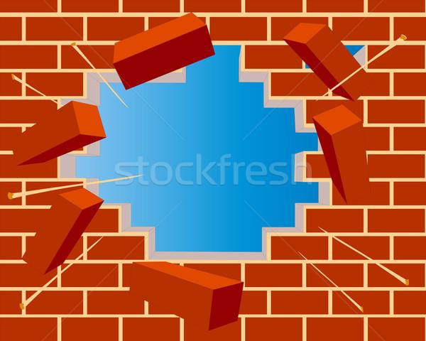 broken brick wall with hole and sky Stock photo © yurkina