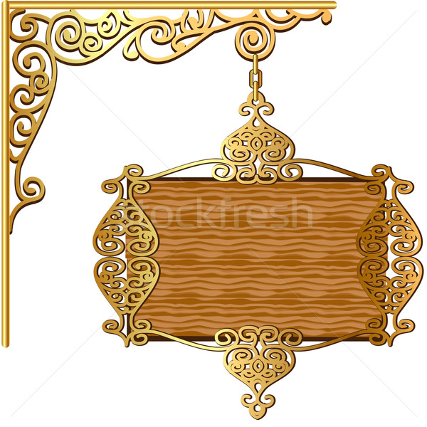 of the Board forged gold ornament for posts Stock photo © yurkina