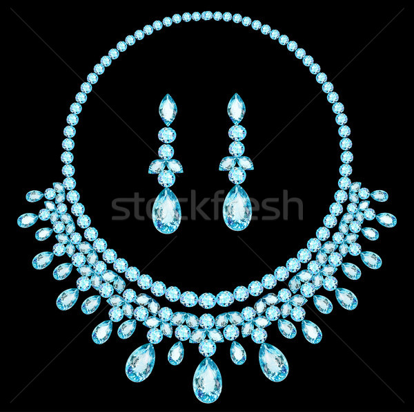 blue necklace women for marriage with precious stones Stock photo © yurkina