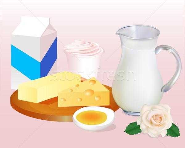 Leche mantequilla queso huevos yogurt ilustración Foto stock © yurkina