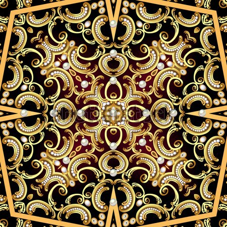 background with gold ornaments and precious stones Stock photo © yurkina