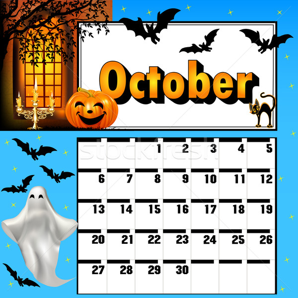 Stock photo:  calendar for October, bats and pumpkin candle holder ghost