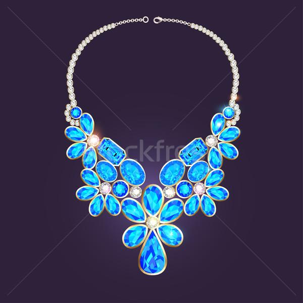 ожерелье драгоценный камней иллюстрация моде золото Сток-фото © yurkina